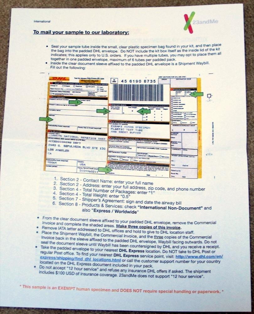 Dhl air express airway bill instructions - 23andme Dhl Canada Dna Sample Box Instructions