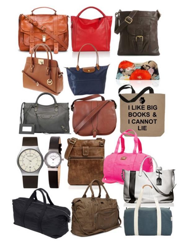Basic-Work-Wardrobe-Minimalist-Current-2012-Purses-Watches-Gym-Bags