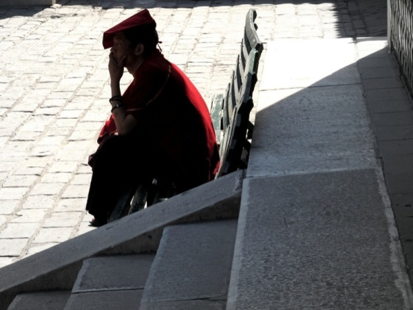 Beijing-China-Photograph-Monk-Visiting-Temple-Resting
