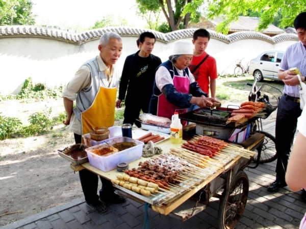 Beijing-China-Photograph-Seniors-Cooking-Grill-Meat-and-Seafood