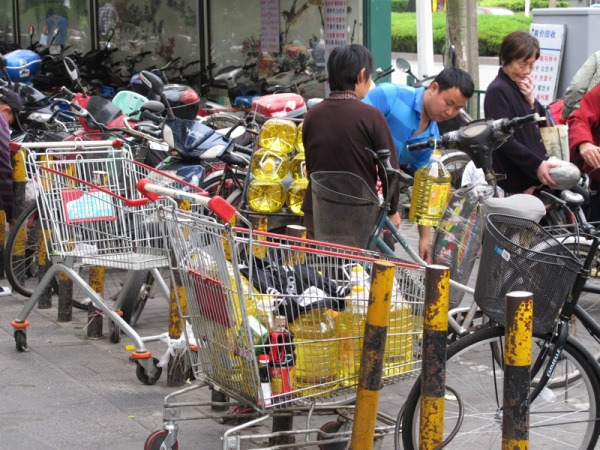 Beijing-China-Photograph-Transportation-Oil-Buckets-Bicycle