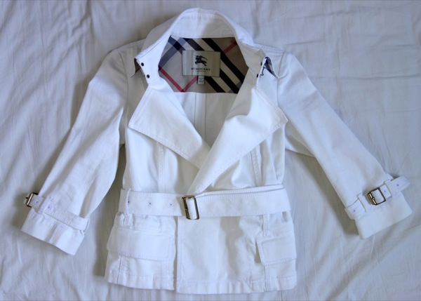 Burberry-London-White-Cotton-Twill-Belted-3:4-Sleeve-Coat