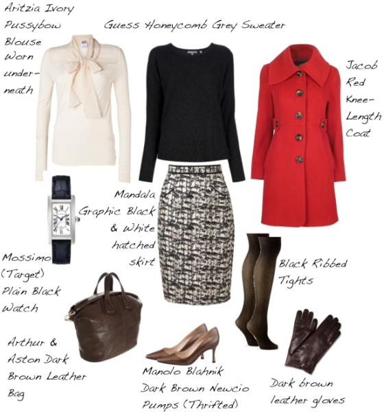 Closet-Wardrobe-Honeycomb-Sweater-Guess-Dark-Charcoal-Grey-Manolo-Blahnik-Pumps-Aritzia-Pussybow-Blouse-Red-Coat-Autumn