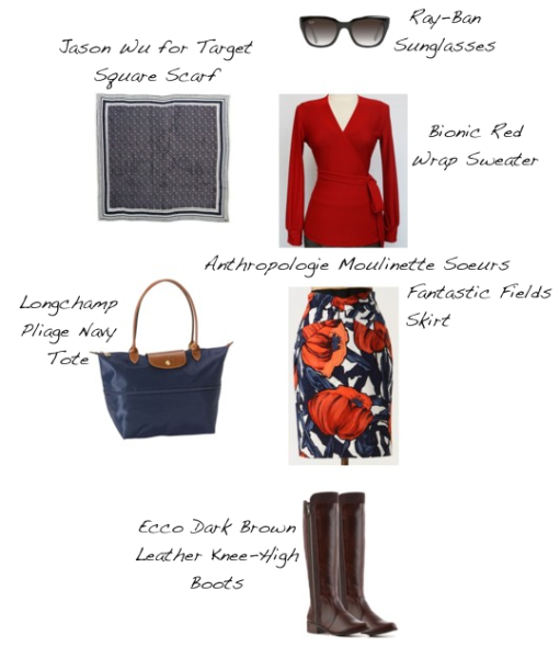 Closet-Wardrobe-Mochimac-Clothes-Set-Red-Wrap-Sweater-Bionic-Fantastic-Fields-Skirt-Anthropologie-Ecco-Dark-Brown-Boots-Jason-Wu-Target-Scarf