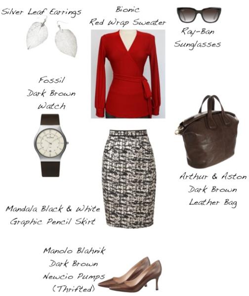 Closet-Wardrobe-Mochimac-Clothes-Set-Red-Wrap-Sweater-Bionic-Mandala-Black-and-White-Pencil-Skirt-Manolo-Blahnik-Brown-Pumps-Arthur-and-Aston-Dark-Brown-Bag