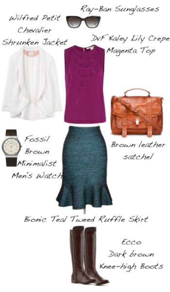 Closet-Wardrobe-Mochimac-Clothes-Set-Teal-Tweed-Skirt-DVF-Kaley-Shirt-Silk-Petit-Chevalier-White-Shrunken-Aritzia