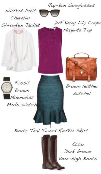Closet-Wardrobe-Mochimac-Clothes-Set-Teal-Tweed-Skirt-DVF-Kaley-Shirt-Silk-Petit-Chevalier-White-Shrunken-Aritzia