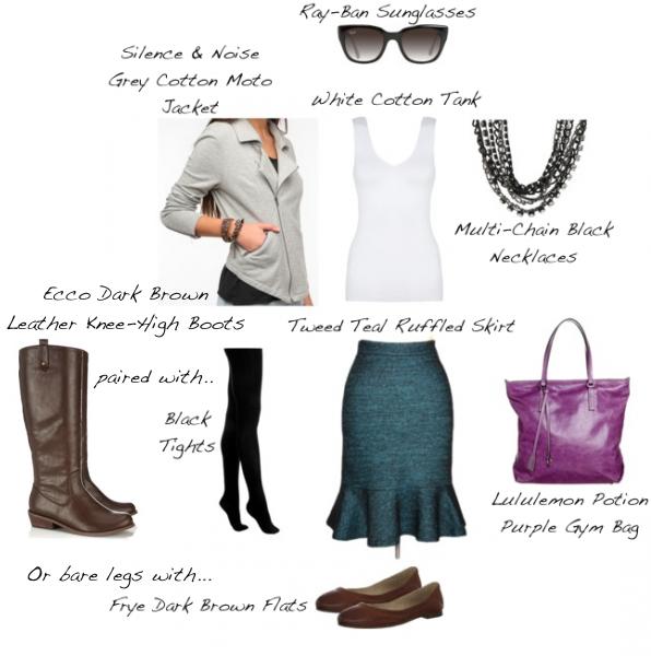 Closet-Wardrobe-Mochimac-Clothes-Set-Teal-Tweed-Skirt-Urban-Outfitters-Grey-Moto-Jacket-Lululemon-Purple-Bag-Two-Options