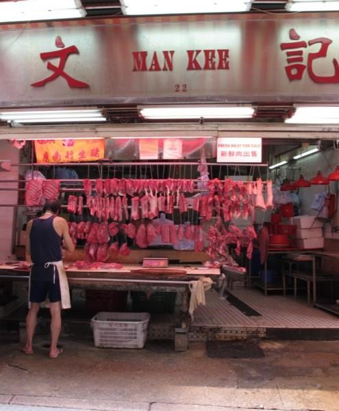 Photograph-Travel-Hong-Kong-Asia-Market-Butcher-Friends-Meat-Food