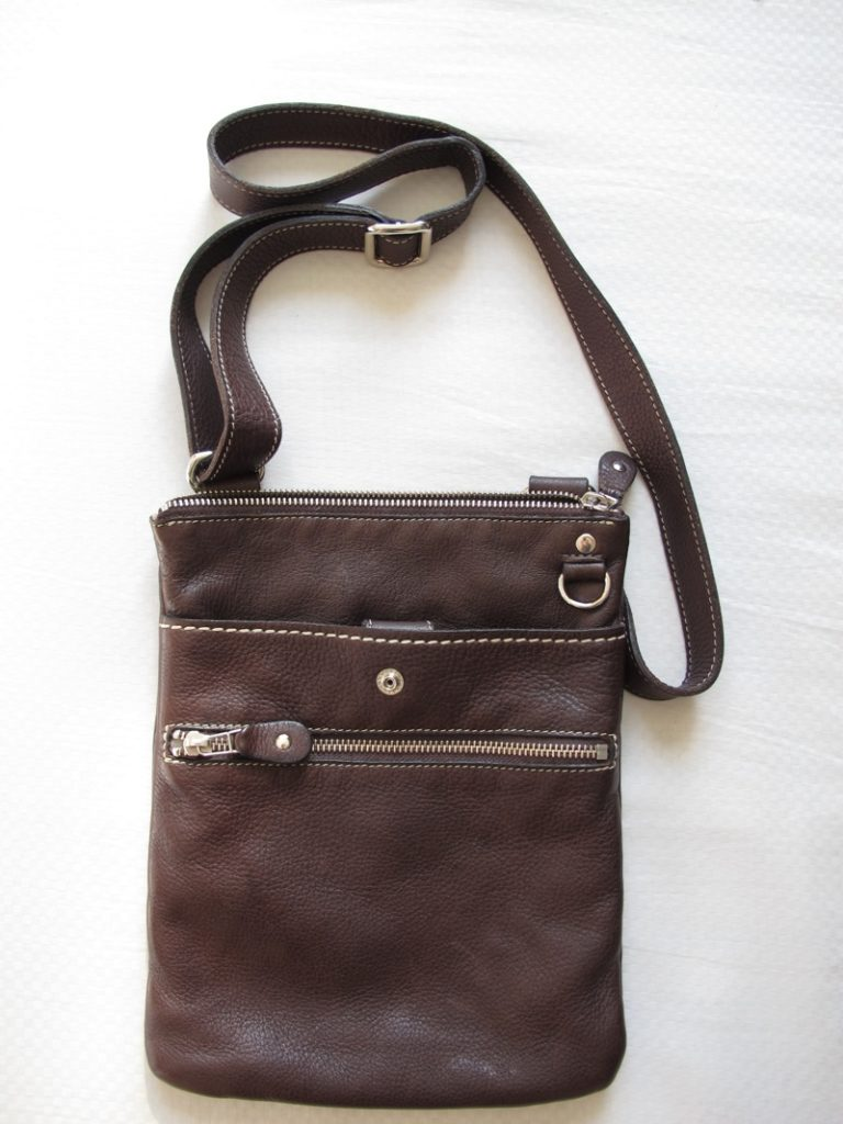Roots Dark Brown Prince Leather Crossbody Bag