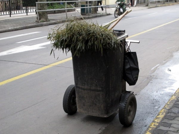 Shanghai-China-Photograph-Cleaning-Cleaners-Brushes-Bamboo-Leaves