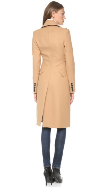 Smythe-Les-Vestes-Reefer-Coat-Camel-Model-Back