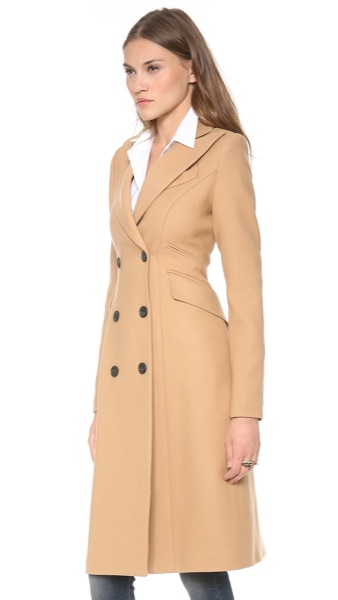 Smythe-Les-Vestes-Reefer-Coat-Camel-Model-Side