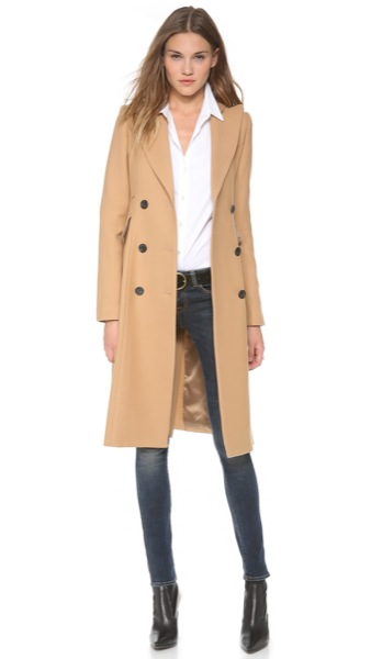 Smythe-Les-Vestes-Reefer-Coat-Camel-Model