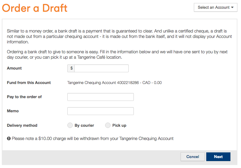 Tangerine-How-to-order-a-bank-draft-form