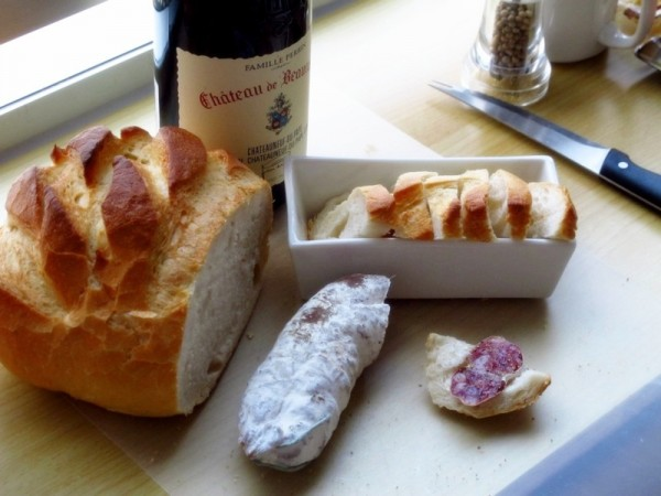 Travel-Photograph-Food-Eat-France-Gourmet-Meal-Bread-Cheese-Salami-Wine
