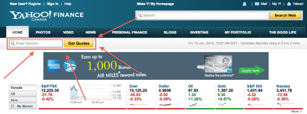 Yahoo-Finance-Stock-Enter