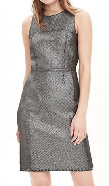 banana-republic-save-spend-splurge-review-metallic-tweed-dress