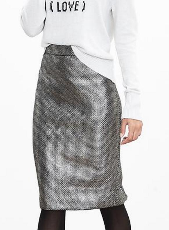 banana-republic-save-spend-splurge-review-metallic-tweed-pencil-skirt