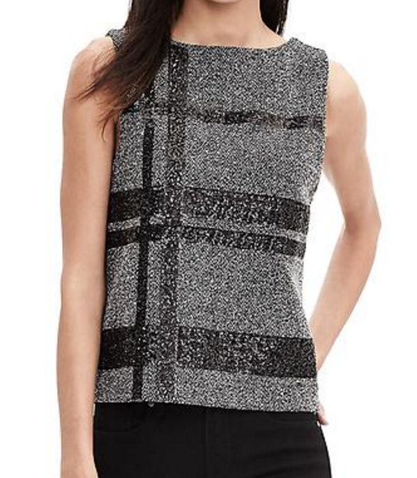 banana-republic-save-spend-splurge-review-tweed-sequined-tank-top-plaid-print