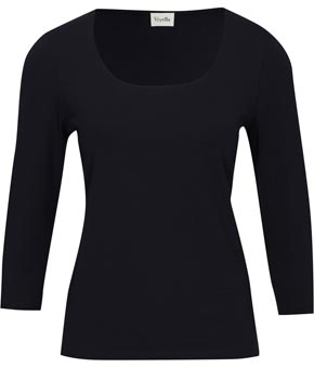 franco-mirabelli-scoop-black-viscose-34-sleeve-top